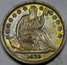 1839-O Seated Liberty Dime Choice AU++... with Amazing Toning and Color, So NICE