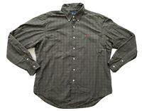 Ralph Lauren Men's Button Down Shirt Olive Green Plaid Long Sleeve XL XLarge