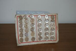#11 Vintage, Cream, Flat, 2 Hole, Baby, Craft, Sewing, Buttons, Card of x36