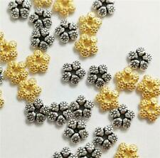 40 SNOWFLAKE DAISY SPACER BEADS 7mm TIBETAN SILVER / GOLD