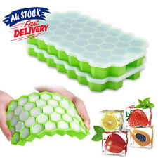 37 Slot Home Freezer Maker   Ice Cube Tray Mould Silicone  Plastic + Lid