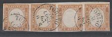 FRANCOBOLLI 1863 SARDEGNA 5 C. BISTRO CHIARO STRISCIA DI 4 TORINO 31/7 C/445