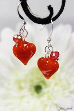 Glass Jewels Silber Ohrringe Perle Herz Feuer Orange Valentinstag Geschenk #L090