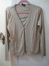 Jason Maxwell  Layered Look Knit Top w/Crochet Lace & Ribbon  Size S - L/Sleeves