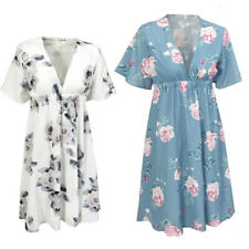 Summer Pregnancy Floral Short Sleeve Dress Women Maternity Party Beach Sundress