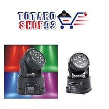 PROIETTORE LED RGB TESTA MOBILE ROTANTE EFFETTI DISCO DISCOTECA 7 LED WASH DMX
