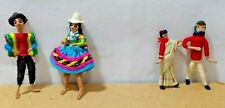 South American & Indian Dolls Lot (4) Cloth Traditional Costumes Miniatures