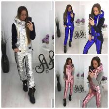 Woman Track Suit Winter Metallic Silver Pink Blue Black Grey Warm Sweat Pants