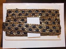 Lentejuelas Negro Oro Joya de cuentas de diamantes de imitación de Cinta de Boda de baile Traje Indio