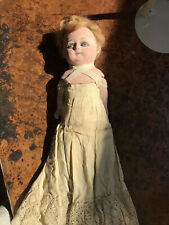 Antique Paper Mache Blue Glass Eyed Red Head With Pretty Original Slip And Black