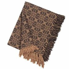 New Primitive Coverlet Tan Black Lovers Knot Throw Woven Afghan Blanket