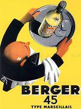 ADVERTISEMENT WINE BERGER 45 FOOD KITCHEN WAITER ART POSTER PRINT LV431