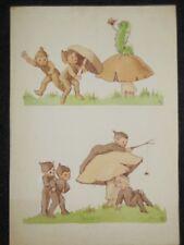 Original CLEM (Cecily Le Mesurier) Cartoon c1920s - Pixies Playing, Caterpillar