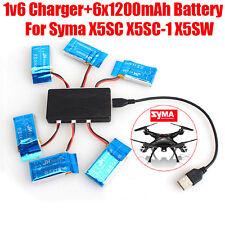 6Pcs 3.7V 1200mAh Batería For Syma X5SC-1 X5SC X5SW Cuadricóptero RC W/6in1 A2