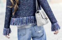 "BNWT Stunning ""Sold Out"" Bloggers Zara Purple Tweed Fringed Jacket ~  SizeL £79"