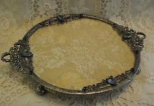 "Beautiful Petite French ""Ribbon & Wreath"" Ormolu Jeweled Footed Vanity Tray"