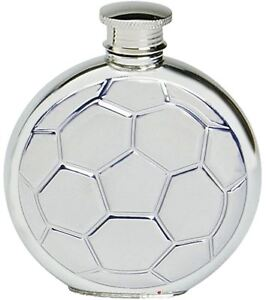 Pewter Hip Flask Round Football Soccer Ball Stamped Screw Top Engravable