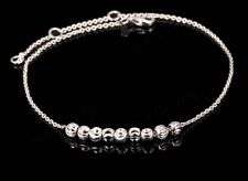 New Women Fashion Jewelry 8 Bead 925 Sterling Silver Plated Bracelet Anklet 19-1