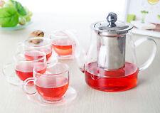 Teaset-650ml Heat Resistant Glass Teapot & Strainer & Lid +4*70ml Cups & Saucers