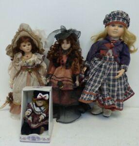 "Porcelain Dolls x4  small 1 in box 2x 16""  1x 19"" no names on dolls BNB2"