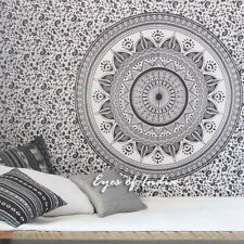 Small Twin White Black Mandala Ombre Wall Hanging Tapestry Bedspread Bohemian In