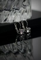 Boucles d'Oreilles Dormeuses CZ Zirconium Argenté Ancien Style Mariage CC 2