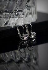 Boucles d`Oreilles Dormeuses CZ Zirconium Argenté Ancien Style Mariage CC 2