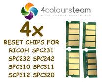 4x TONER RESET CHIPS FOR RICOH AFICIO SPC231 SPC232 SPC242 SPC310 SPC311 SPC320