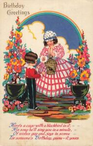 ART DECO - CHILDREN GIRL IN CRINOLINE DRESS , RAINBOW, FLOWERS, ARTIST DRAWN PC