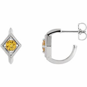 Yellow Sapphire Geometric J-Hoop Earrings In Platinum