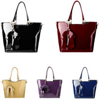 Patent Leather Handbag Women Luxury Medium Size Shoulder Bag With Strap Bow Tie