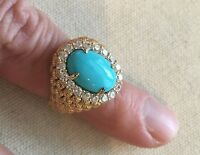 HSN Xavier Ring Estate Collection Turquoise Vermeil Domed Basket-weave Size 7.75