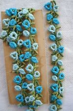 VTG SCHIFFLI AQUA BLUE FLOWER APPLIQUE LACE RIBBON TRIM FRENCH DOLL DRESS BONNET
