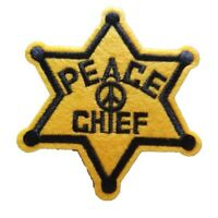 Peace Chief Sheriff's badge Embroidered Iron On Sew On Patch Dress Jacket Skirt