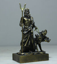 Hades Pluto Greek Roman Underworld God Cerberus Alabaster Statue Bronze Finish