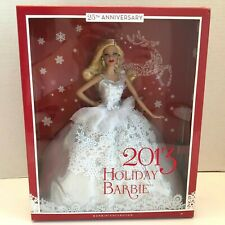 2013 Mattel Holiday Barbie Doll Collector 25th Anniversary Blonde Silver Dress