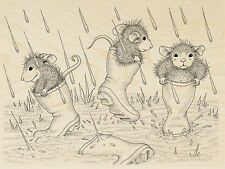 Puddle Jumpers HOUSE MOUSE Wood Mounted Rubber Stamp STAMPENDOUS, New - HMR115