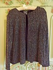 ONYX NITE BY WENDYE CHAITIN  L   ONE BUTTON SHRUG BLACK  COVERED IN SILVER  OCCA