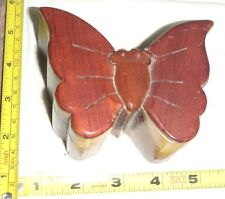 "Vtg Hand-Made WOOD BUTTERFLY 4-Piece Puzzle/Trinket Box ~  4 1/4"" x 3"" x 2 1/4"""