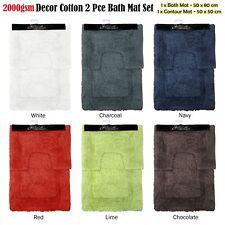Quality 2000gsm 2 Pce Décor Cotton Bath Mat & Contour Pedestal Set