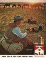 07596 VINTAGE MARLBORO COWBOY CIGARETTE SMOKING AD ART LAMINATED POSTER US
