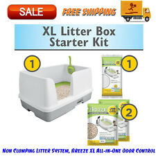 Non Clumping Litter System, Breeze XL All-in-One Odor Control, Multi Cat Box