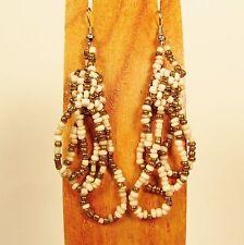 "2 1/4"" Cream Gold Color Simple Style Handmade Dangle Hoop Seed Bead Earring"