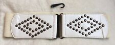 BNWOT CREAM & WHITE ELASTICATED MATERIAL WAIST STUDDED BELT SIZE M/L