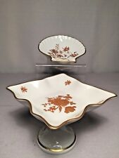 2 Vintage Limoges Candy Nut Dishes  Floral, White/Gold/Rust, Scalloped Edges