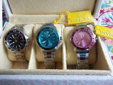 3 Ladies Invicta Pro Diver Quartz Watches Stainless Bracelet 21538,21539 & 21540