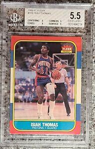 1986 FLEER BASKETBALL ISIAH THOMAS #109 ROOKIE CARD RC BGS 5.5 Excellent  PSA 7