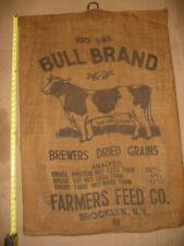 Vintage Bull Brand Brewers Dried Grain Burlap Sack Bag Farmers Feed Brooklyn NY