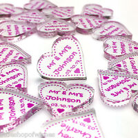 Personalised Mr & Mrs Love Hearts Wedding Favours Centrepiece Table Decorations