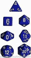 Chessex Opaque dice set blue with white numbers 7 die set